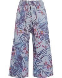 SUNO   Floral-print Denim Culottes   Lyst