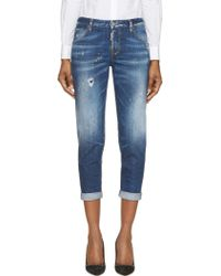 DSquared2 Blue Paint Splattered High Casual Hockney Jeans - Lyst
