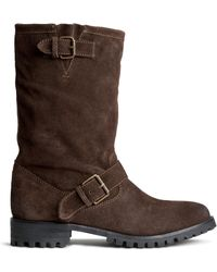 H&M Brown Suede Boots - Lyst
