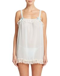 In Bloom Lace-Trimmed Babydoll Chemise blue - Lyst
