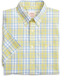 Brooks Brothers Yellow and Blue Plaid Short-sleeve Sport Shirt - Lyst
