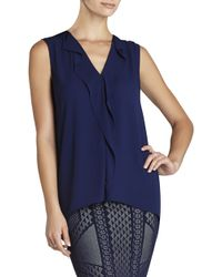 BCBGMAXAZRIA Ellan Sleeveless Drapedplacket Top - Lyst