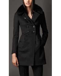 Burberry Virgin Wool Cashmere Coat With Fox Fur Collar - Lyst