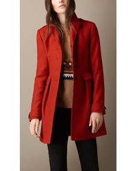Burberry Double Wool Blend Twill Fitted Coat - Lyst