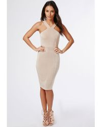Missguided Karen Slinky Double Strap Midi Dress Nude - Lyst