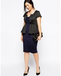 Asos Curve Contrast Scuba Peplum Dress - Lyst