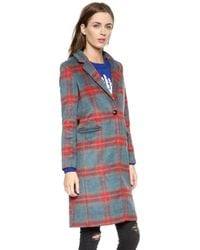 Glamorous | Checkered Coat - Blue/Red Check | Lyst