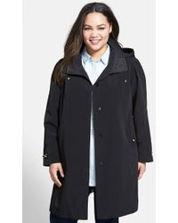 Gallery Leopard Embossed Collar Belted Raincoat With Detachable Hood - Lyst