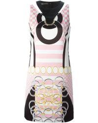 Versace Printed Eyelet Dress pink - Lyst