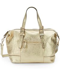Olivia Harris Metallic Leather Topzip Satchel - Lyst