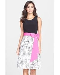 Eliza J Floral Print Skirt Fit & Flare Dress - Lyst
