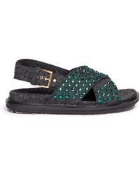 Marni Crystal Felt Cross Strap Sandals - Lyst