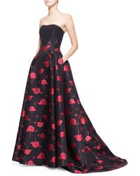 Carolina Herrera Bee  Floral Jacquard Strapless Ball Gown - Lyst