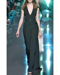 Elie Saab Black Stretch Cady and Lace Jumpsuit - Lyst