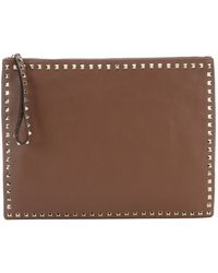 Valentino Light Brown Leather 'Rockstud' Large Clutch Bag - Lyst