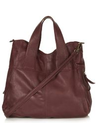 Topshop Womens Leather Alba Hobo Bag Burgundy - Lyst