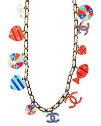 Chanel Pre-Owned Acrylic Beach Charm Necklace - Lyst