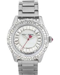 Betsey Johnson Silver Tone Watch with Crystal Baguette Dial - Lyst