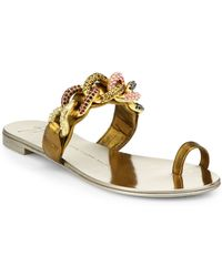 Giuseppe Zanotti Jeweled Chain Leather Toe Ring Sandals - Lyst