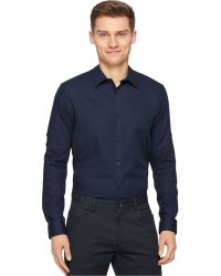 Calvin Klein Solid Texture Shirt blue - Lyst