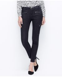 Ann Taylor Cargo Moto Super Skinny Denim Jeans - Lyst
