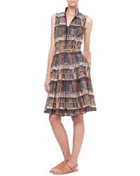 Akris Bobines-Print Stand-Collar Shirtdress - Lyst
