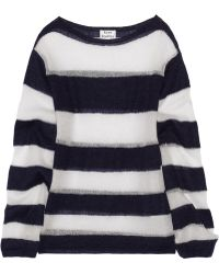 Acne Striped Openknit Mohairblend Sweater - Lyst