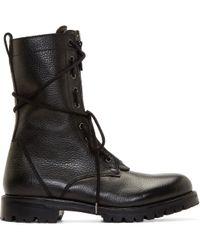 Helmut Lang - Bleak Leather Combat Boots - Lyst