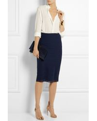 Burberry Prorsum Wool And Silk-Blend Midi Skirt blue - Lyst