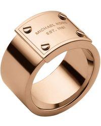 Michael Kors Rose Gold-Tone Logo Plaque Ring - Lyst