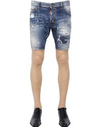 DSquared² Snow Wash Destroyed Denim Shorts - Lyst