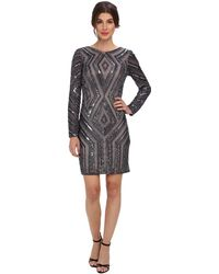 Adrianna Papell Ls Diamond Beaded Cocktail Dress - Lyst