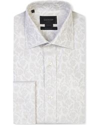 Duchamp Tailored-fit Jacquard Floral Double-cuff Shirt - Lyst