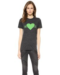 Rodarte Rohearte With Green Heart T-Shirt - Charcoal Grey/Acid Green - Lyst