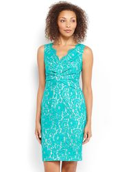 Eliza J Turquoise Ruched Lace Dress - Lyst