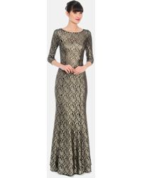 Kay Unger Metallic Lace Trumpet Gown - Lyst