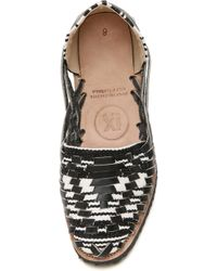 Ix Style - Woven Leather Huarache Flats - Black/white - Lyst