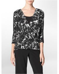 Calvin Klein White Label Faux Leather Trim Printed V-Neck Drape Front 3/4 Sleeve Top - Lyst