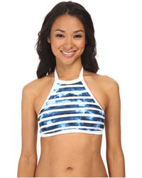 Seafolly Inked Stripe High Neck Tank Top blue - Lyst