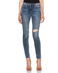 Current/Elliott Blue Ankle Skinny - Lyst