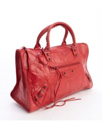 Balenciaga Poppy Red Lambskin Large Work Bag - Lyst