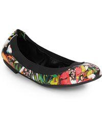 Ash Hypnotic Floral-Print Leather Ballet Flats - Lyst