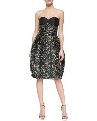 Michael Kors Strapless Bustier Laceprint Dress - Lyst