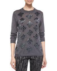 Lela Rose Long-Sleeve Beaded Sweater - Lyst