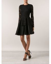 Cushnie Et Ochs Lace Peplum Dress - Lyst