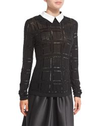 Carmen Marc Valvo - Plaid Beaded Sweater W/ White Collar - Lyst