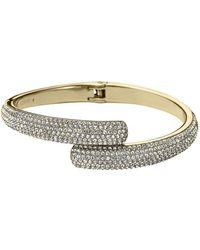 Michael Kors Goldtone  Crystal Pavã Bypass Bracelet - Lyst