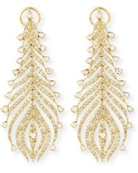 Sutra - 18k Yellow Gold Diamond Feather Earrings - Lyst