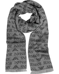 Armani Jeans - Signature Dark Grey And Black Wool Blend Men's Scarf - Lyst