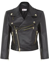 RED Valentino Cropped Leather Biker Jacket - Lyst